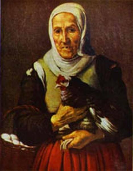 old woman with a hen alte pinakothek XX munich germany